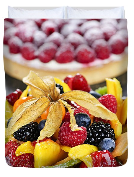 Fruit And Berry Tarts Duvet Cover