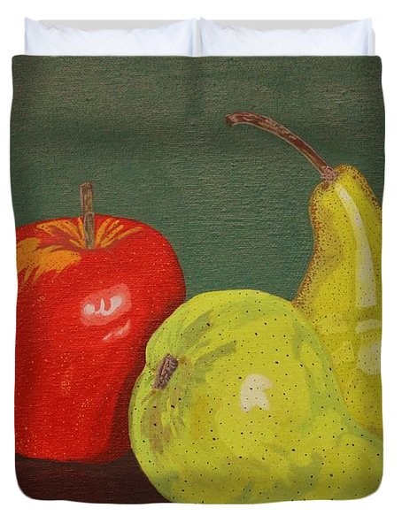Fruit For Teacher Duvet Cover by Vicki Maheu