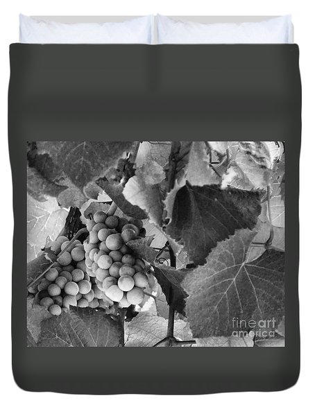 Fruit -grapes In Black And White - Luther Fine Art Duvet Cover