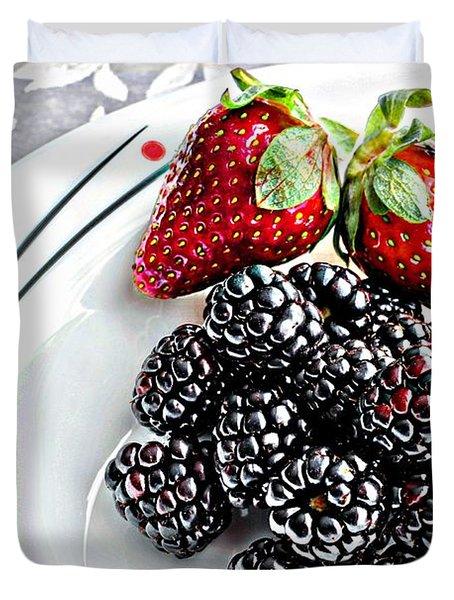 Fruit I - Strawberries - Blackberries Duvet Cover by Barbara Griffin