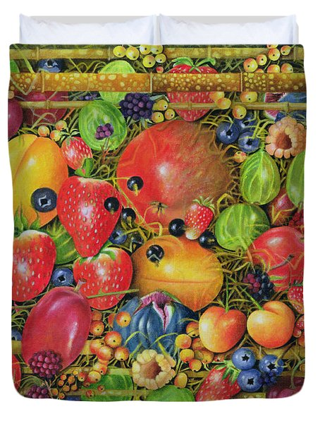 Fruit In Bamboo Box Duvet Cover by EB Watts