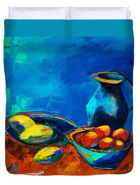 Duvet Cover featuring the painting Fruit Palette by Elise Palmigiani