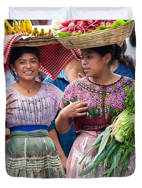 Fruit Sellers In Antigua Guatemala Duvet Cover