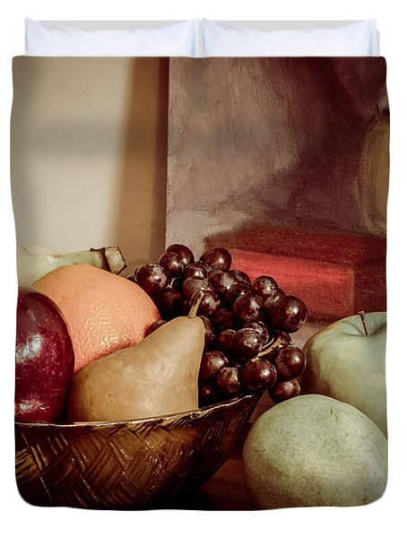 Fruit With Painting Duvet Cover by Brian Caldwell