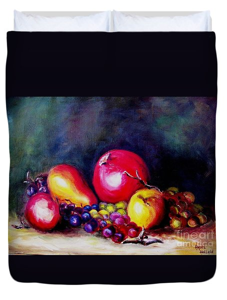 Duvet Cover featuring the painting Fruitfulness by Hazel Holland