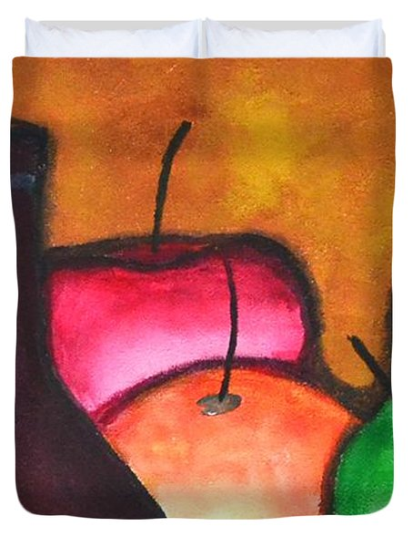 Fruits And Wine Still Life Painting By Saribelle Duvet Cover by Saribelle Rodriguez