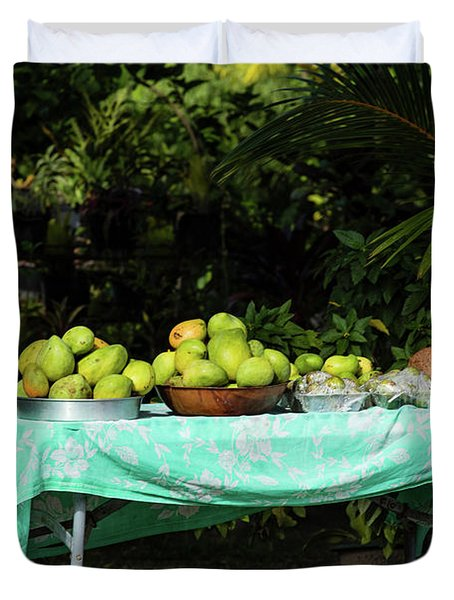 Fruits On A Table In Lawn, Bora Bora Duvet Cover