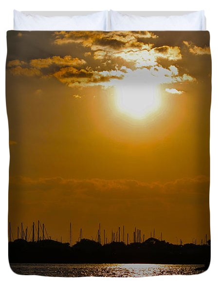 Duvet Cover featuring the photograph Ft. Pierce Florida Docks At Dusk by Janice Rae Pariza