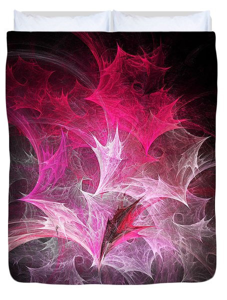 Fuchsia Fountain Abstract Duvet Cover by Andee Design