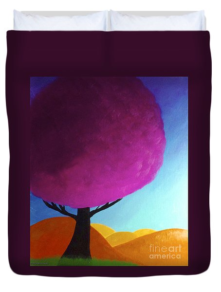 Duvet Cover featuring the painting Fuchsia Tree by Anita Lewis