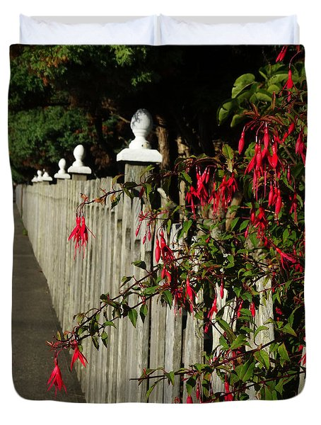 Fuchsias  And Fence Posts Duvet Cover