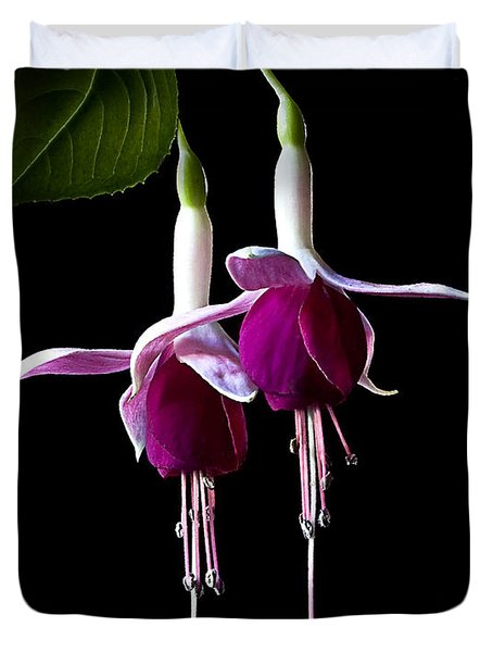 Duvet Cover featuring the photograph Fuchsias by Endre Balogh