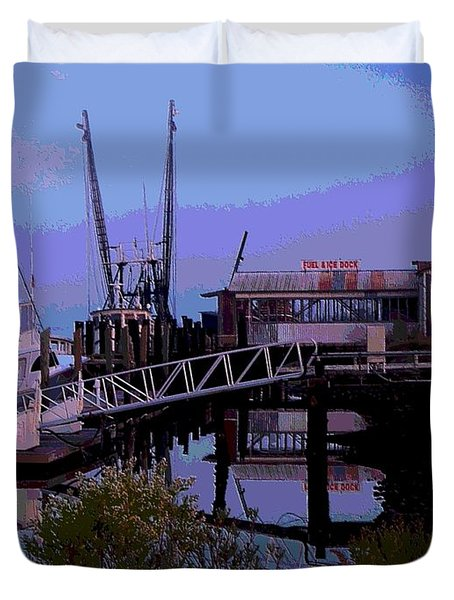 Duvet Cover featuring the painting Old Brunswick Fuel Dock by Laura Ragland