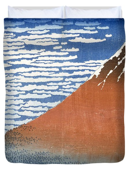 Fuji Mountains In Clear Weather Duvet Cover by Hokusai