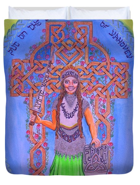 Full Armor Of Yhwh Woman Duvet Cover by Hidden  Mountain