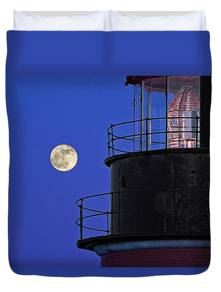 Duvet Cover featuring the photograph Full Moon And West Quoddy Head Lighthouse Beacon by Marty Saccone