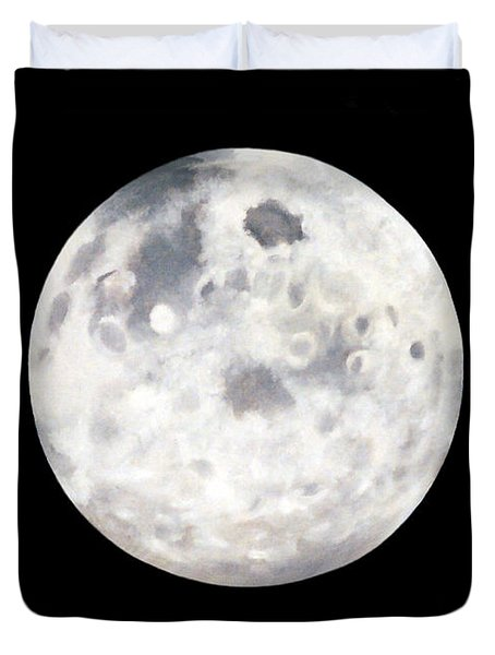 Full Moon In Black Night Duvet Cover