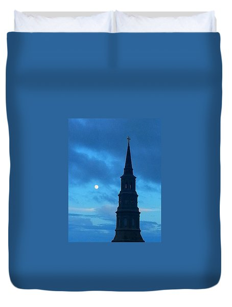 Duvet Cover featuring the photograph Full Moon In The Holy City by Joetta Beauford