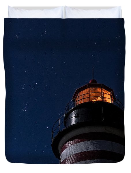 Full Moon On Quoddy Duvet Cover by Marty Saccone