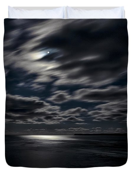 Full Moon On The Bay Of Fundy Duvet Cover by Marty Saccone