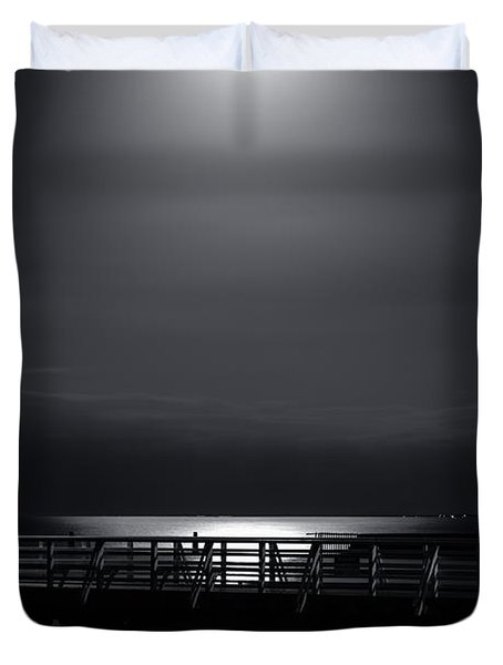 Full Moon Over Bramble Bay Duvet Cover