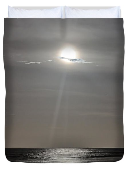 Full Moon Over Daytona Beach Duvet Cover