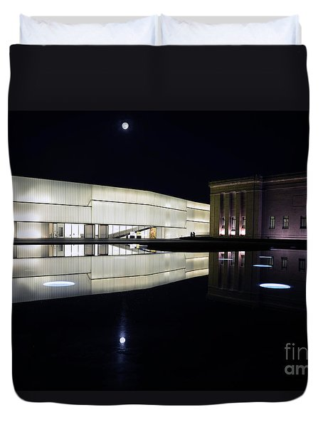 Full Moon Over Nelson Atkins Museum In Kansas City Duvet Cover by Catherine Sherman