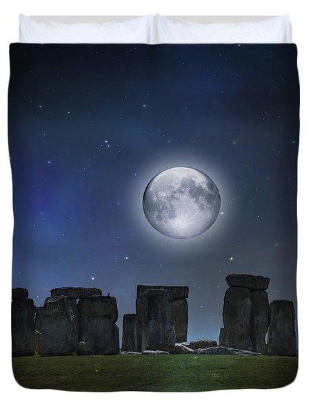 Full Moon Over Stonehenge Duvet Cover