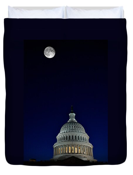 Full Moon Over Us Capitol Duvet Cover