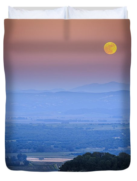 Full Moon Over Vejer Cadiz Spain Duvet Cover by Pablo Avanzini