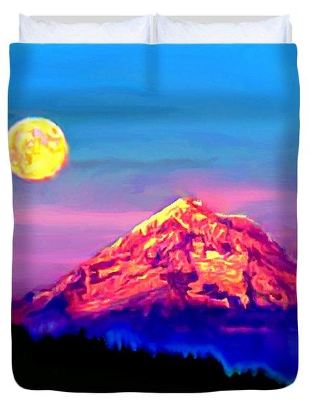 Full Moon Rising Over Mount Hood Oregon Duvet Cover