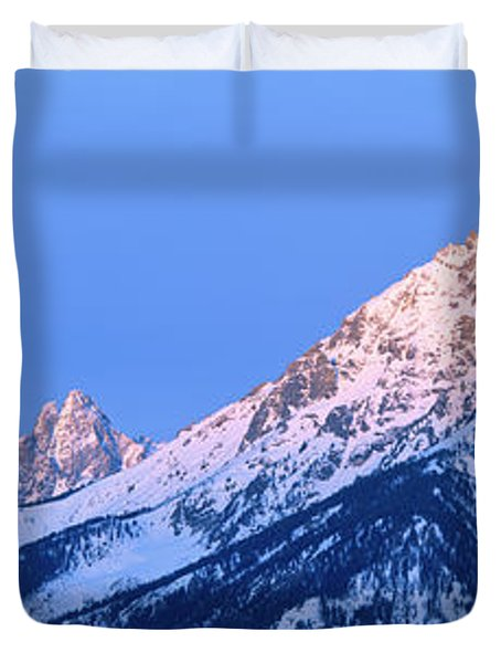 Full Moon Sets Behind The Cathedral Duvet Cover