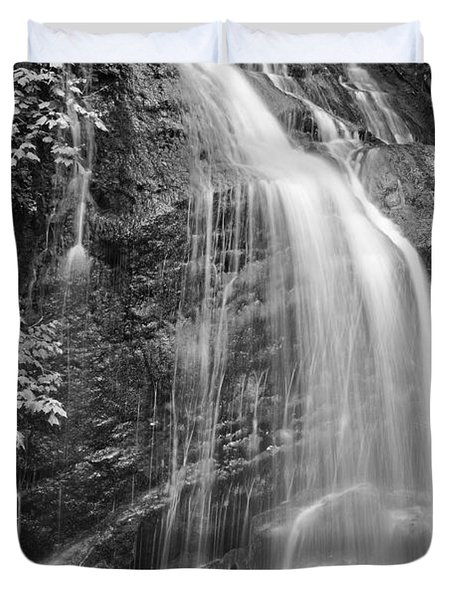 Fuller Falls Waterfall Black And White Duvet Cover