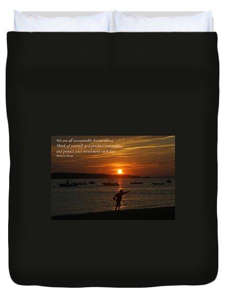 Fun At Sunset/ Inspirational Duvet Cover by Karen Silvestri
