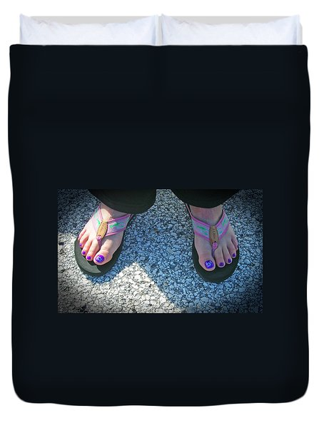 Duvet Cover featuring the photograph Fun Feet by Emmy Marie Vickers