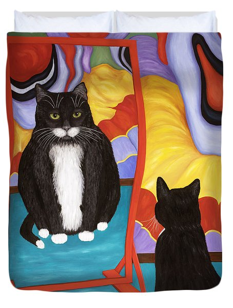 Duvet Cover featuring the painting Fun House Fat Cat by Karen Zuk Rosenblatt