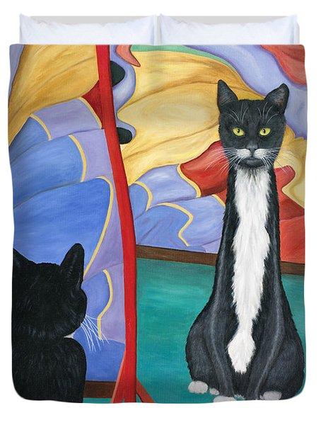 Fun House Skinny Cat Duvet Cover