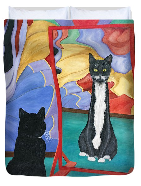 Duvet Cover featuring the painting Fun House Skinny Cat by Karen Zuk Rosenblatt