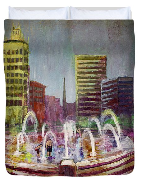 Fun In The Fountain In Asheville Duvet Cover by Gray  Artus