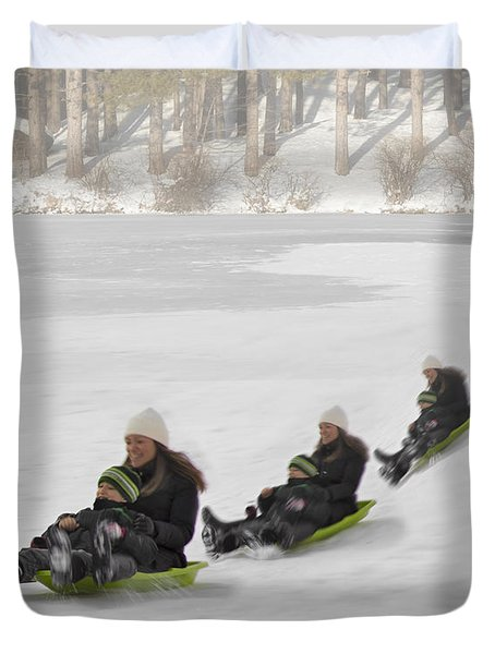 Fun In The Snow Duvet Cover by Susan Candelario