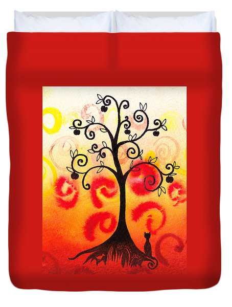 Fun Tree Of Life Impression Iv Duvet Cover by Irina Sztukowski