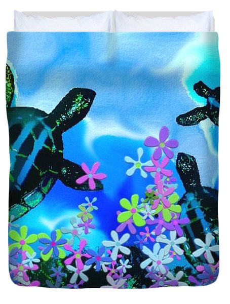 Fun With Sea Turtles Duvet Cover by Lady Ex
