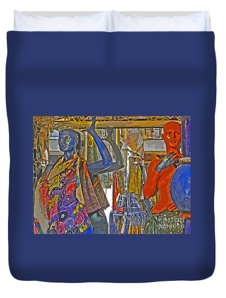 Duvet Cover featuring the photograph Funky Boutique by Ann Horn