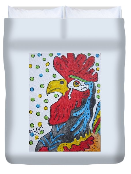 Funky Cartoon Rooster Duvet Cover