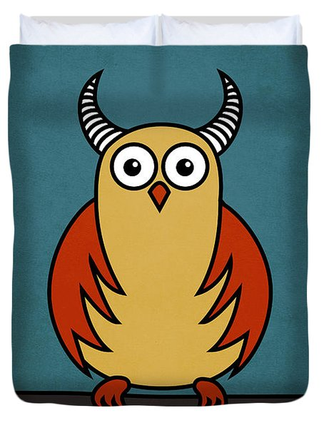 Funny Cartoon Horned Owl  Duvet Cover