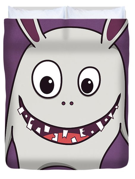 Funny Crazy Happy Monster Duvet Cover