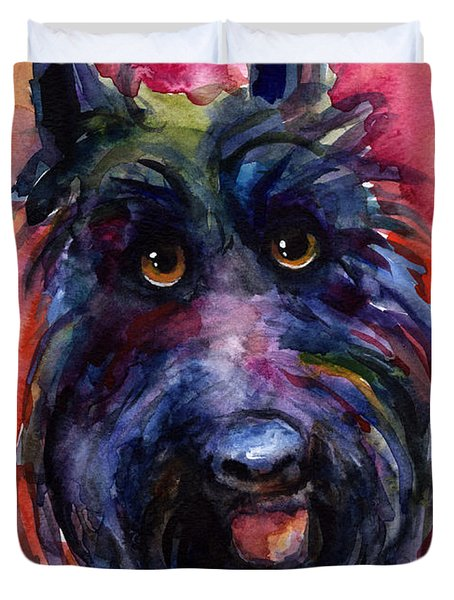 Funny Curious Scottish Terrier Dog Portrait Duvet Cover by Svetlana Novikova