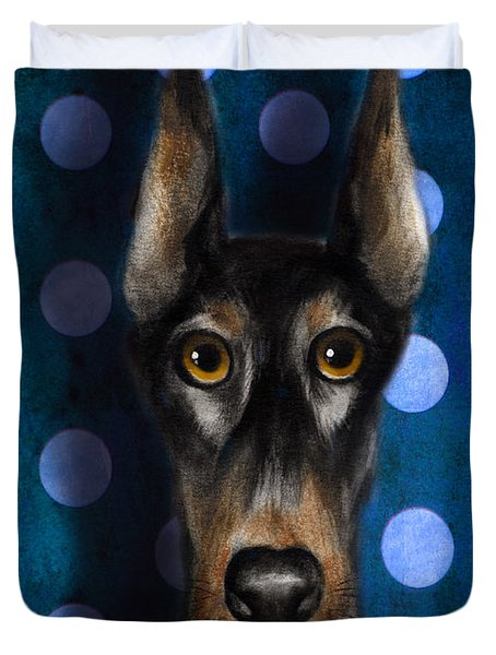 Funny Doberman Pincher Gentleman Dog Portrait Duvet Cover by Svetlana Novikova