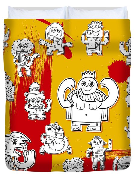 Funny Doodle Characters Urban Art Duvet Cover by Frank Ramspott