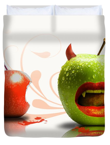 Funny Satirical Digital Image Of Red And Green Apples Strange Fruit Duvet Cover